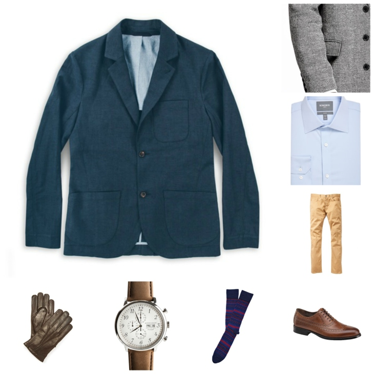 Can you go wrong with a navy jacket & khaki five-pocket pants? Hardly.