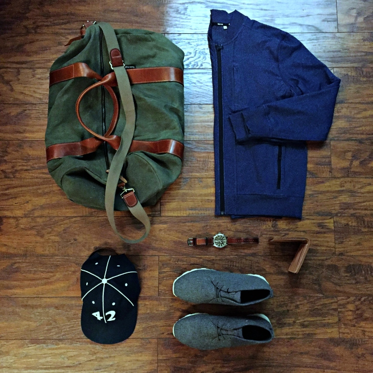 Just the right gear to hit the road back to NYC. Crosstown Bomber by Public Rec. Voyager Waxed Weekender by Owen & Fred. Waterbury Chrono by Timex x Red Wing Heritage. Strayhorn Mid Sneakers by CLAE x JackThreads. Utility Bifold by Tanner Goods. Vintage ballcap by Goorin Brothers.