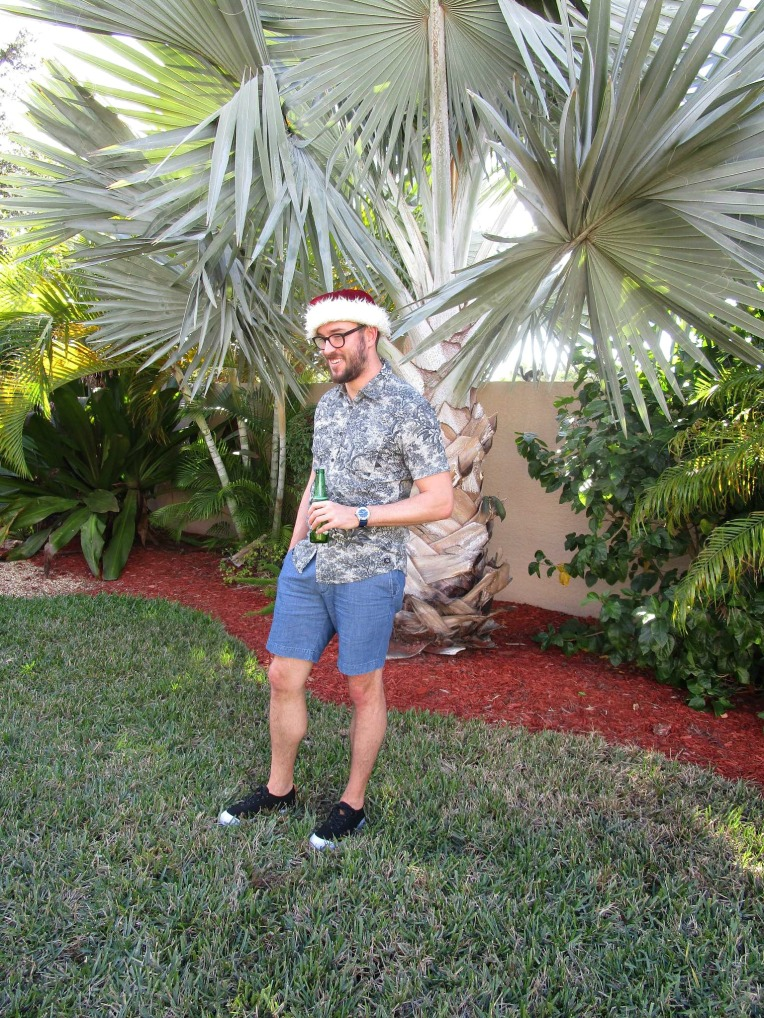 Dressed for Christmas the Florida way. Printed shirt by Quiksilver. Chambray shorts by Canvas by Lands' End. Ripper Sneakers by Reef. Nautical 3-Hand Watch by Jack Mason. Glasses by Frameri.