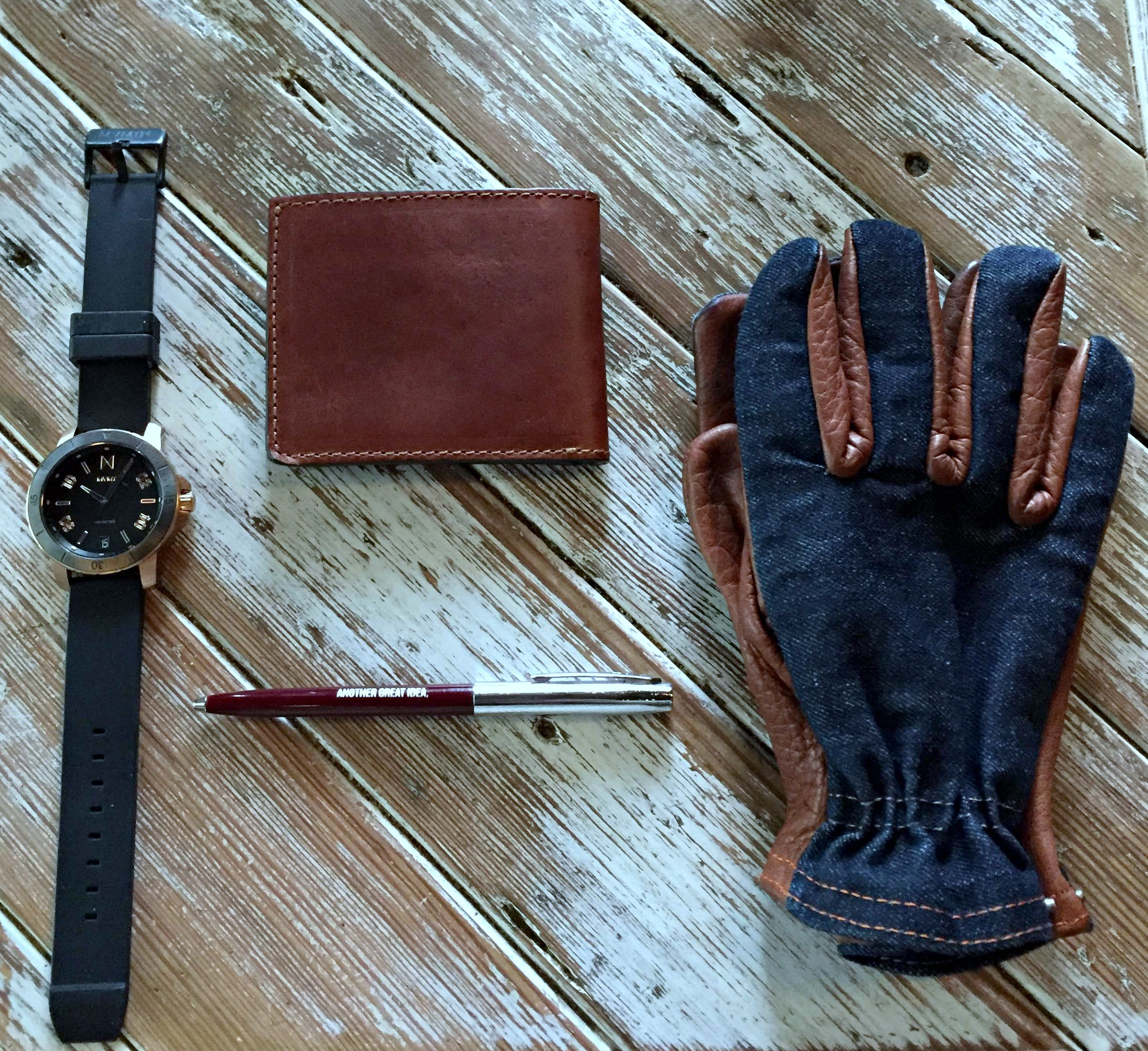 The everyday carry for a quick road trip. Ranger Gloves by Grifter Company. Wallet by Brothers Leather (Get 15% off with the code 'BrotherBeau15'! Calypso Watch by MVMT Watches. Pen by Owen & Fred.