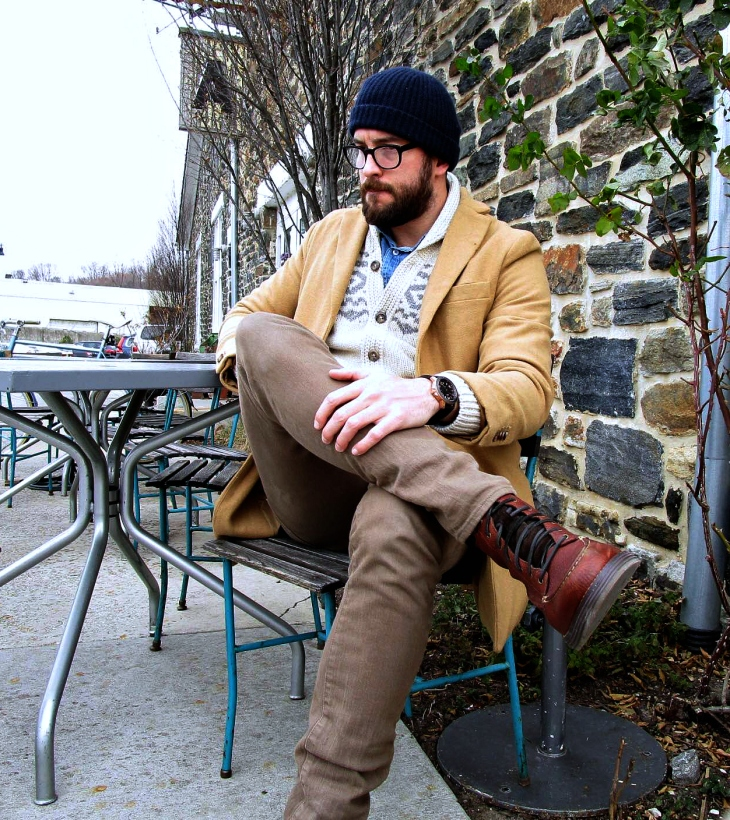 Layered up for a pit stop at Artifact Coffee. Wool-Blend Topcoat by Old Navy. Snow Bridge Cardigan by Eddie Bauer. Denim shirt by JackThreads. Travel Jeans by Bonobos. Lockridge Moc Toe Boots by Cole Haan. Calypso Watch by MVMT Watches. Glasses by Frameri. Cashmere hat by Club Monaco.