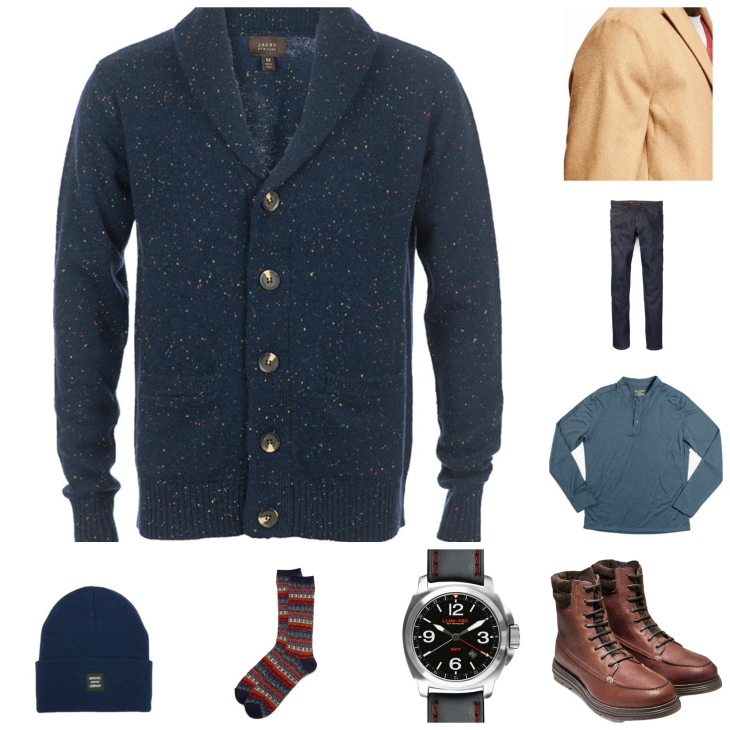 Layering up for snowy weather with a comfortable henley, a rugged cardigan and waterproof boots.
