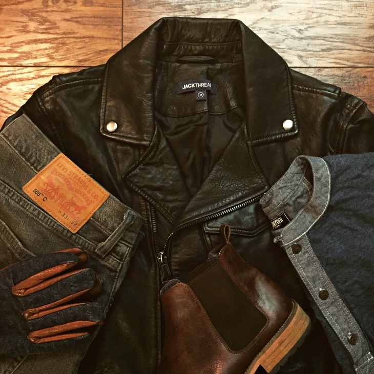 Just one way to wear this jacket. Classic Henley by Todd Snyder. 505C Denim by Levi's. Kimbo Chelsea Boots also by JackThreads. Ranger Gloves by Grifter Company.