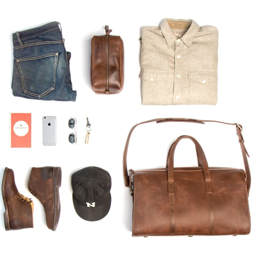 Perhaps a few travel packing tips worth stealing. Photo courtesy of Huckberry.