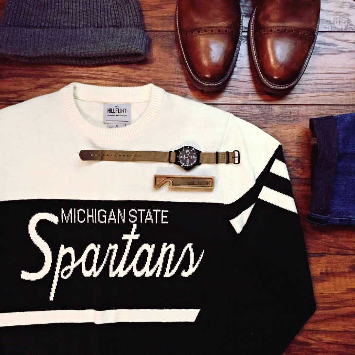 Cheering on my Michigan State Spartans in style. Vintage-style sweater by Hillflint. Winter Denim by Abercrombie & Fitch. Field watch by Timex for J. Crew. Watch cap by Everlane. Karnes Captoe Boots by Johnston and Murphy.