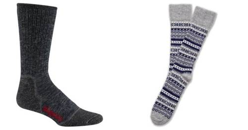 Your call -- simple, well-made socks or a pair with winter-friendly pattern.