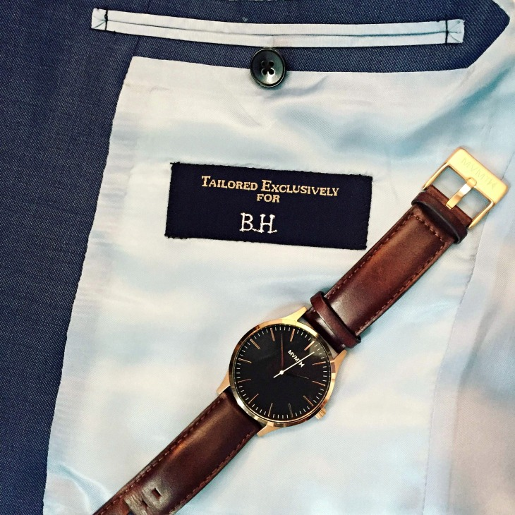 A beautiful suit with nice, refined details. Definitely a new recommendation. Watch by MVMT Watches.