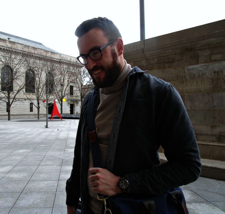 All smiles in advance of Young the Giant. Merino Turtleneck by Knit Project. Denim shirt and dark denim by Frank & Oak. Watch by Timex for J. Crew. Flight Brief by Owen & Fred. Glasses by Frameri.