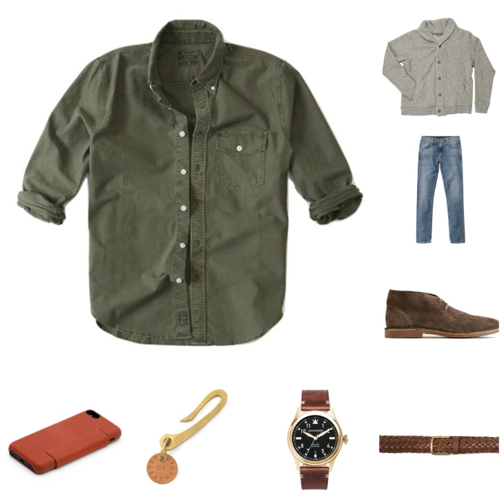 A touch of green, a rugged cardigan and casual denim. All solid holiday picks.