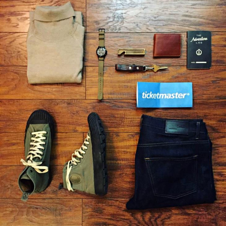 Gear for a Saturday on the road and a Saturday concert. Sweater by The Knit Project. Dark denim by Frank & Oak. Grounder Hi-Tops by Todd Snyder x P.F. Flyers. Field watch by Timex for J. Crew. Lanyard by Tanner Goods. 810 Wallet by Brothers Leather Supply. Adventure Log by Word Notebooks.