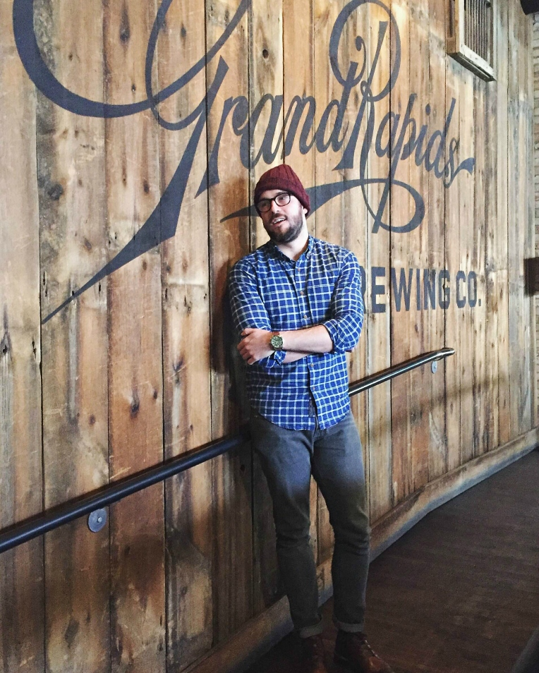 Dressed with brewery-hopping in mind. Indigo Plaid Shirt by Abercrombie & Fitch., 505C Denim by Levi's. Sutter Boots by CAT Footwear. Waterbury Chrono by Timex x Red Wing Heritage. Stocking cap by JackThreads. Glasses by Frameri.