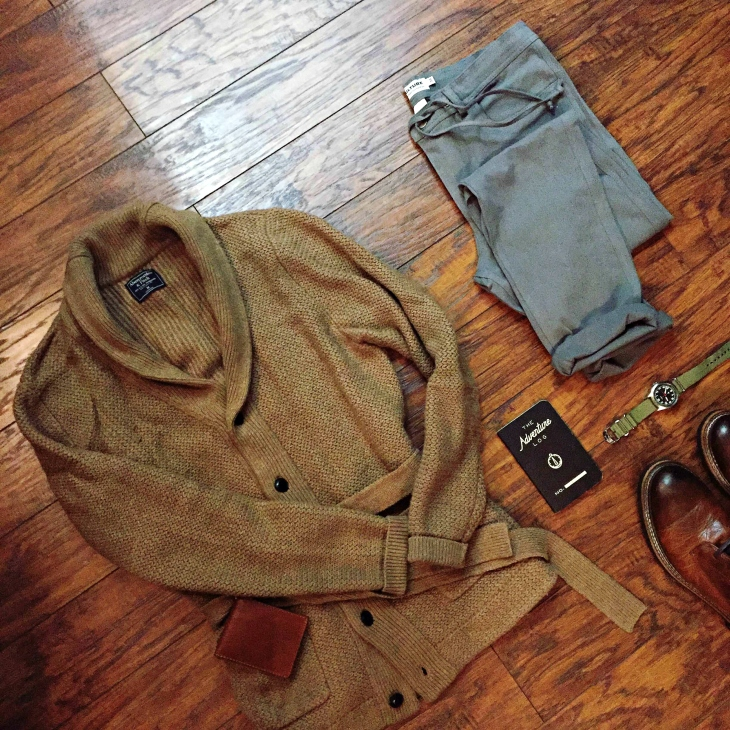 Sunday layering, starting with a sharp Abercrombie & Fitch Belted Shawl Cardigan. Stretch twill pants by Kit Culture. Sutter Boots by CAT Footwear. Military Watch by Timex + Todd Snyder. Adventure Log by Word Notebooks.