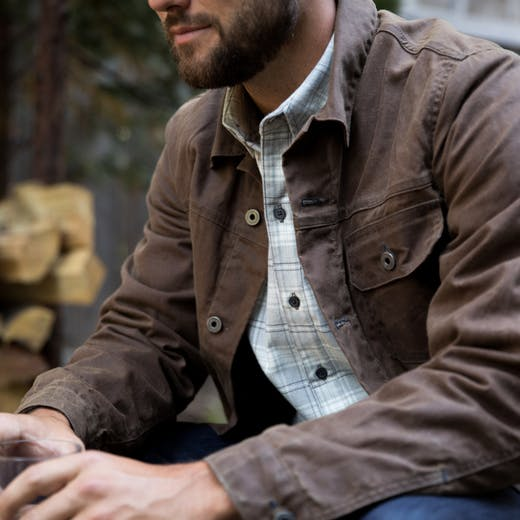 Flint And Tinder Flannel Lined Waxed Trucker Jacket The